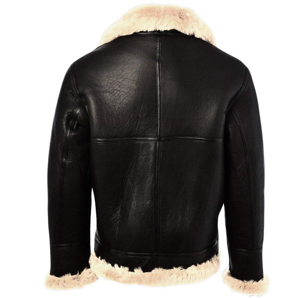 Mens B3 Bomber Aviator Pilot Flying Black Sheepskin Leather Jacket