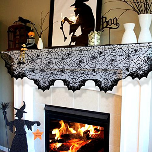 OurWarm 18 x 96 Inch Black Lace Bats Fireplace Mantel Scarf Oval Edge Cobweb Fireplace Mantle Scarves Cover for Halloween Decor Haunted Mansion décor