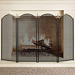 Large Gold Fireplace Screen 4 Panel Ornate Wrought Iron Black Metal Fire Place Standing Gate Decorative Mesh Solid Baby Safe Proof Fence Steel Spark Guard Cover Outdoor Fireplace Tools Accessories by AMAGABELI GARDEN & HOME