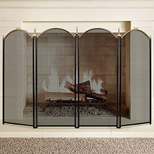 Large Gold Fireplace Screen 4 Panel Ornate Wrought Iron Black Metal Fire Place Standing Gate Decorative Mesh Solid Baby Safe Proof Fence Steel Spark Guard Cover Outdoor Fireplace Tools (Chimney Cover)