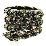Winter's Secret Ancient Snake Wide Wrap Black Drop Crystal Bead Diamond Accented Style Bracelet
