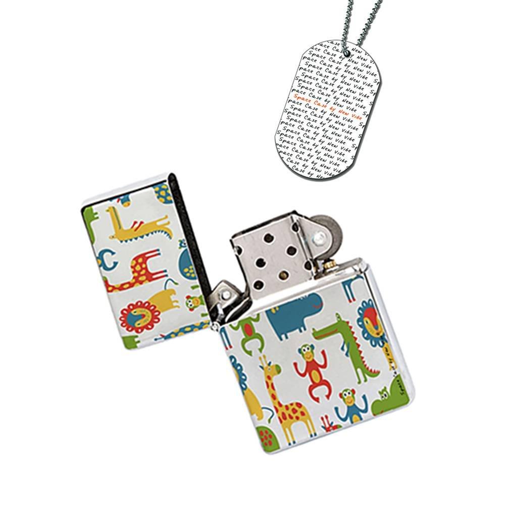 New Vibe Silver Flip Top Lighter - Giraffe Monkey Kids Fun