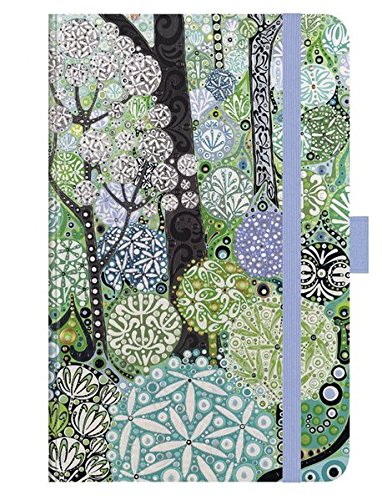 Premium Notes Small Woodland: A6 Notizbuch liniert mit hochwertiger Folienveredelung, Stiftehalter, Zetteltasche und Leseband