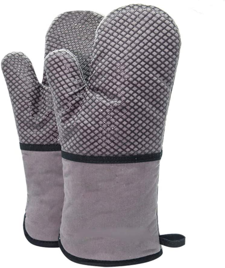 La Mode - Guantes de silicona para horno, juego de 2 guantes diabáticos largos con algodón acolchado, resistente al calor, guante grueso para cocina, respaldo, barbacoa, barbacoa (gris B): Amazon.es: Hogar