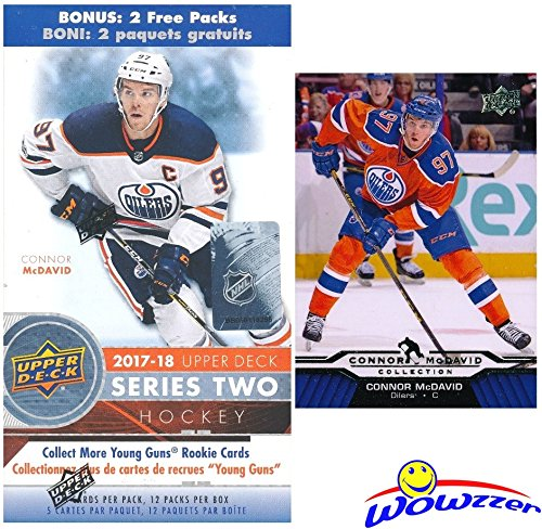 2017/18 Upper Deck Series 2 NHL Hockey EXCLUSIVE HUGE Factory Sealed Blaster Box with 12 Packs PLUS Bonus Connor McDavid ROOKIE! Box Includes TWO Young Guns Rookie Cards & 1 Portraits Rookie! WOWZZER!
