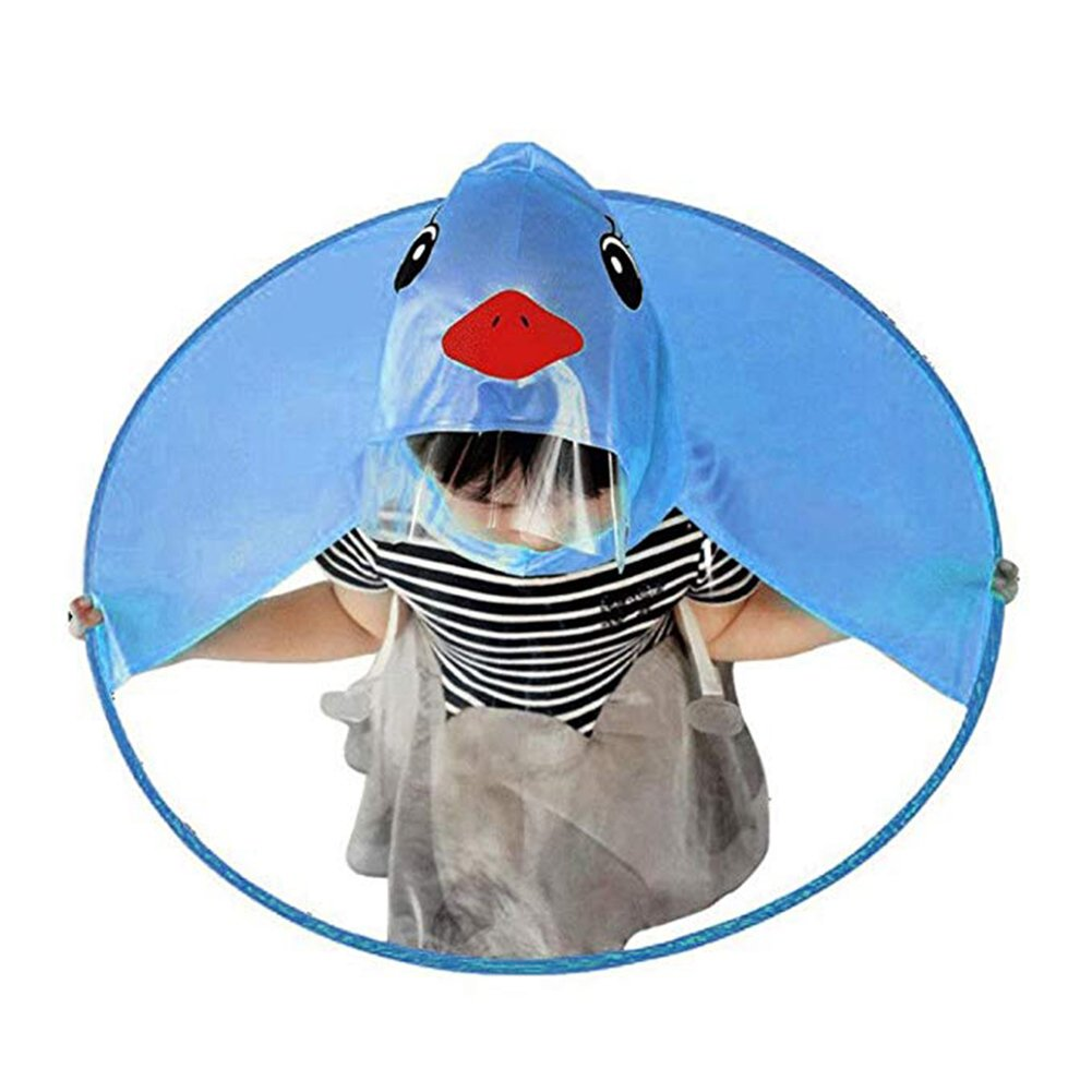 ZHOUBA Cute Cartoon Duck Children Raincoat Umbrella UFO Shape Rain Hat Cape Foldable