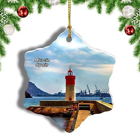 Weekino España Faro Navidad Cartagena Murcia Decoración de Navidad Árbol de Navidad Adorno Colgante Ciudad Viaje Porcelana Colección de Recuerdos 3 Pulgadas: Amazon.es: Hogar