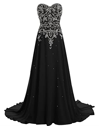 Amazon.com: BeryLove Women\'s Beading Long Prom Dress Chiffon Corset ...