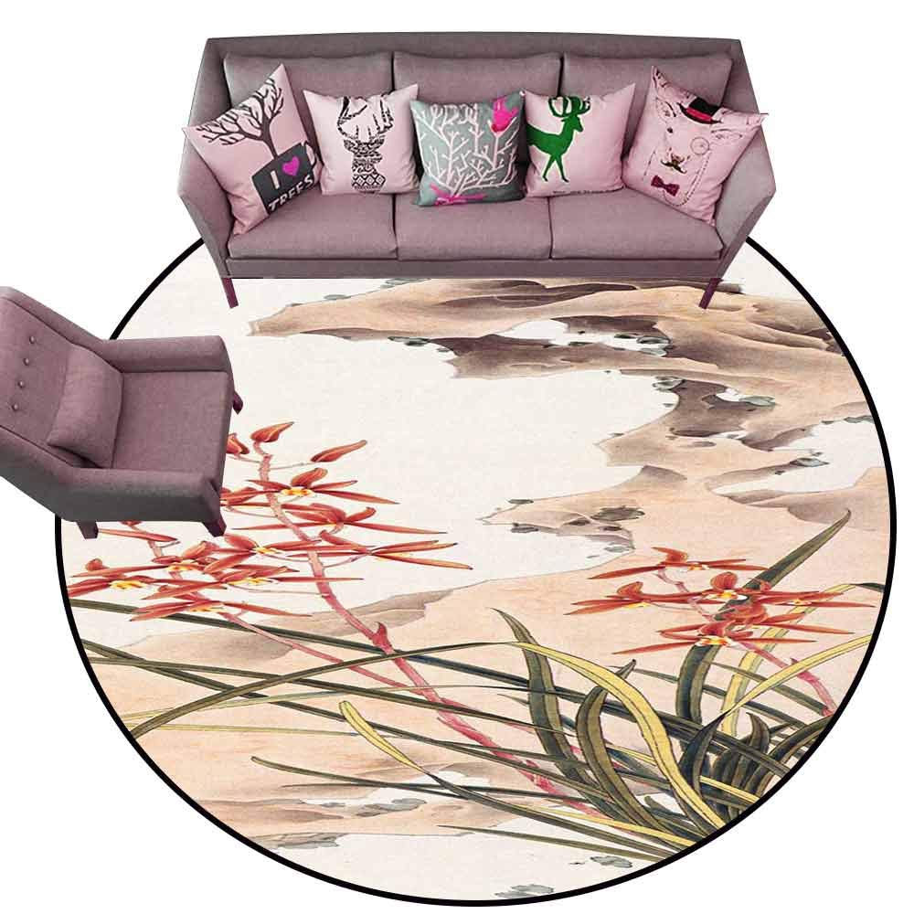 Floor Mat Entrance Doormat Watercolor and Ink Illustration of Tree Foliage and Flowers. Oriental Traditional paintind u-sin, sumi-e. Postcard Format of Picture Diameter 78'' Round Carpet mat