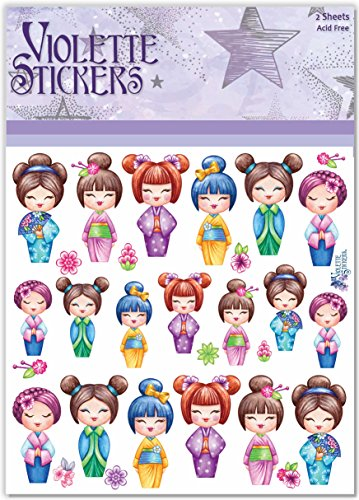 Violette Stickers Kimono Dolls Japanese