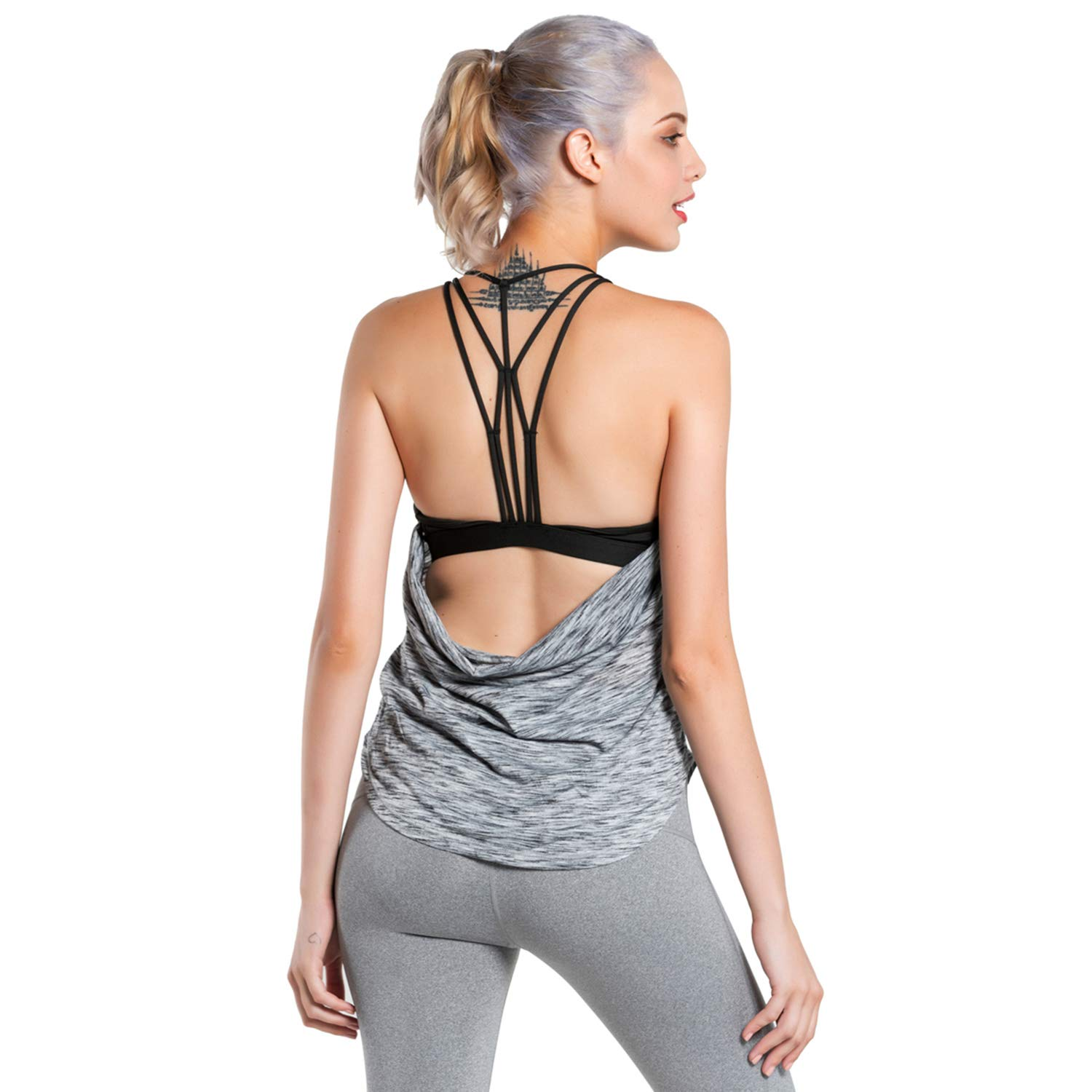 MTSCE Womens Padded Yoga Tops Cross Back 2 in 1 Tank Top Workout Clothes Yoga Bra