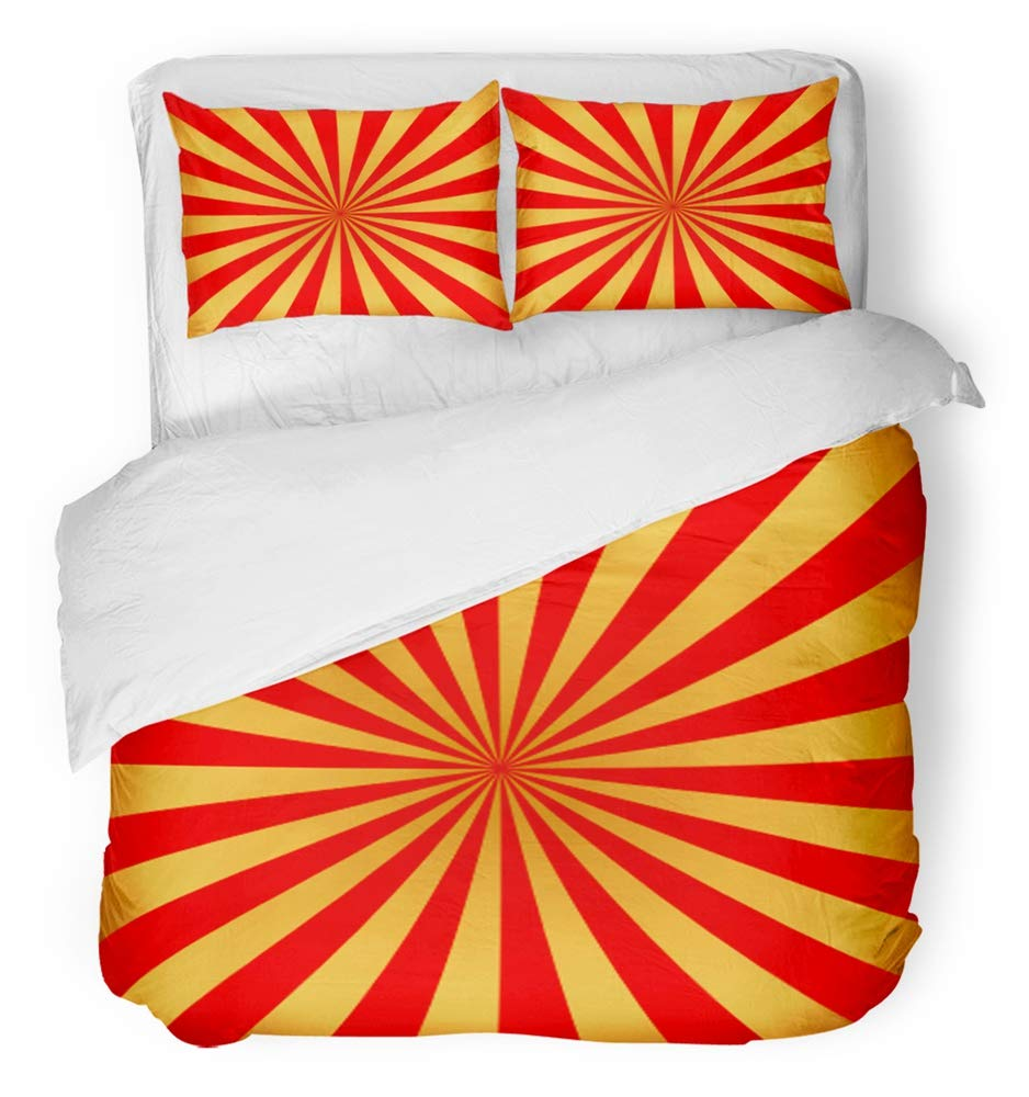 Emvency 3 Piece Duvet Cover Set Breathable Brushed Microfiber Fabric Red and Golden Rays of Carnival Circus Sunlight Holiday Abstract Retro Bedding Set with 2 Pillow Covers Full/Queen Size by Emvency