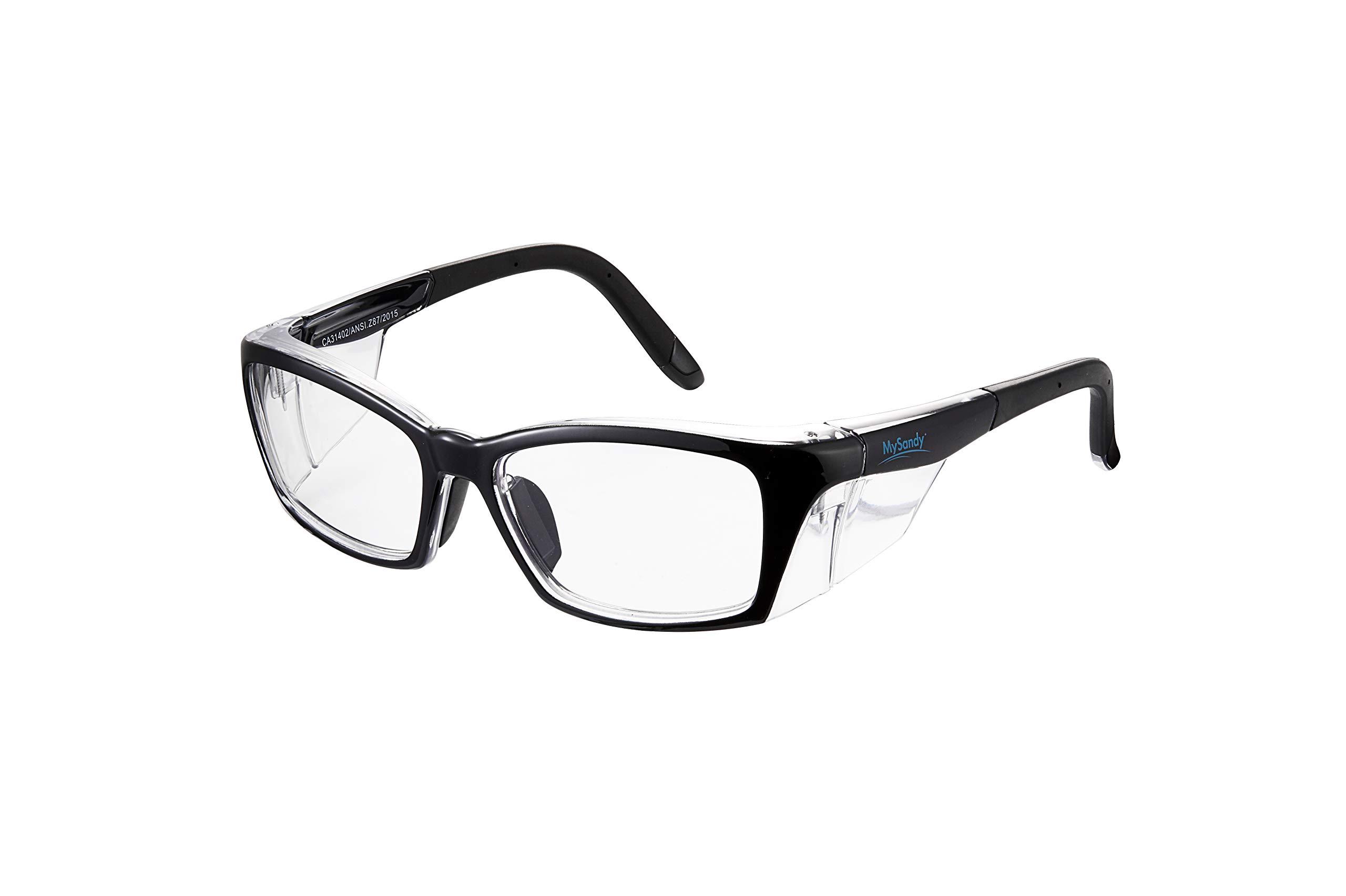 Safety Glasses Reduce Eye Strain & Fatigue, UV Protection, Anti Fog Coating Clear Blue Light Blocking Lens (OP40-Black) by MYSANDY