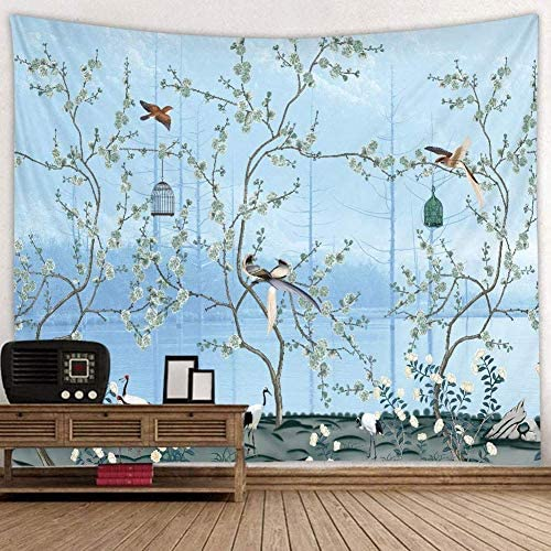 Flower Wall hanging Spring, Japanese Cherry Blossom Tree with Bird Landscape Wall Tapestry Home Decoration for Bedroom Living Dorm Wall Art Blanket Plant, 71 x 90