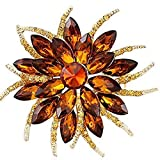 Bai You Mei Fashion Brooch Blooming Flowers Tear Brooch Pin in Crystal Alloy, Jewelry Gift For Women Men