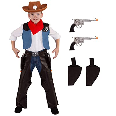 Kids Cowboy Costume Childs Wild West Sheriff Outfit Western Rodeo for Boys and Girls: Clothing