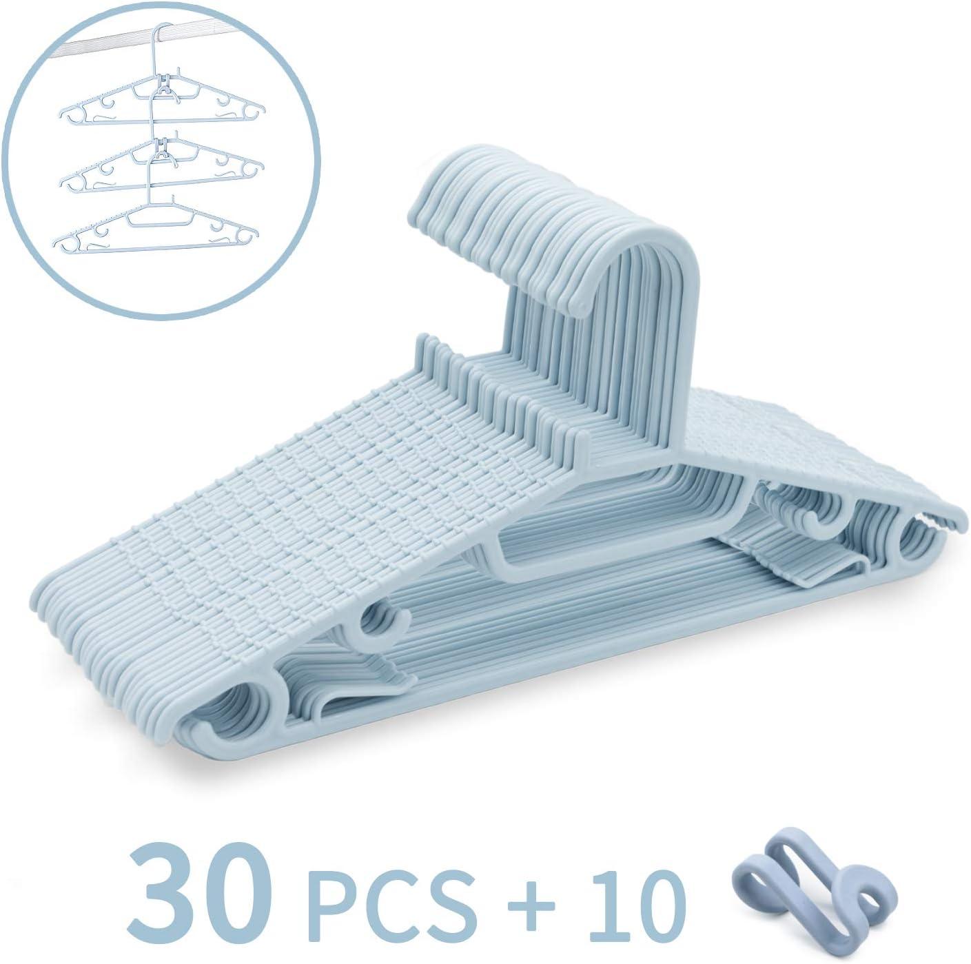 Zebricolo Paquete de 30 Perchas, Plástico, para Trabajo Pesado con Diseño Antideslizante, para Ropa, Ahorran Espacio, 0,5 cm de Grosor, 43 cm de Ancho, Azul