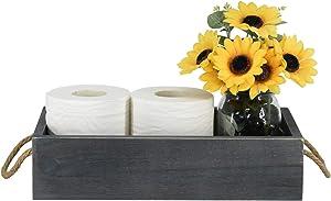 Wooden Bathroom Toilet Tank Box, Rustic Bathroom Decor Box, Toilet Paper Holder Basket, Wood Tissue Holder, Decorative Storage Box for Bathroom , Countertop, Bedroom Dresser