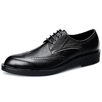 GAOLIXIA Zapatos oficiales de cuero para hombres Zapatos Bullock Zapatos casuales con cordones Zapatos de vestir