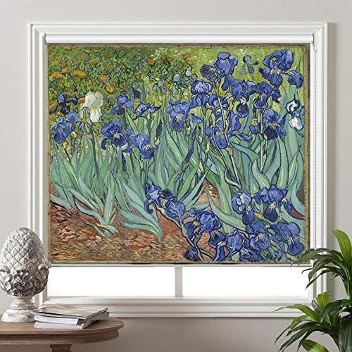 PASSENGER PIGEON Blackout Window Shades, Irises 1889, by Vincent Van Goah, Premium UV Protection Custom Roller Blinds, 58 W x 48 L