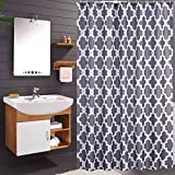 #7: Luunaa Geometric Patterned Shower Curtain Waterproof and Mildew Resistant , 72 x 72 Inch with 12 Hooks (Grey Geometric 72