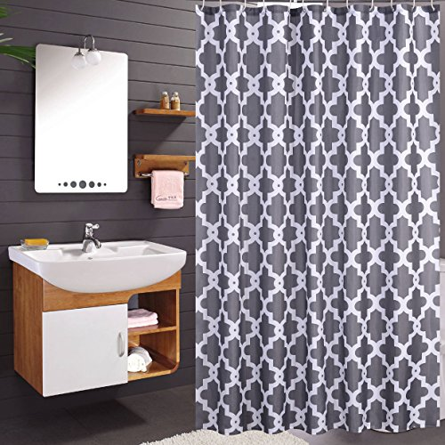Luunaa Geometric Patterned Shower Curtain Waterproof  72 x 80 Inch with 12 Hooks (Grey Geometric 72