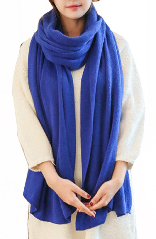 Wander Agio Womens Warm Long Shawl Winter Blanket Scarf Scarf Pure Color Blue