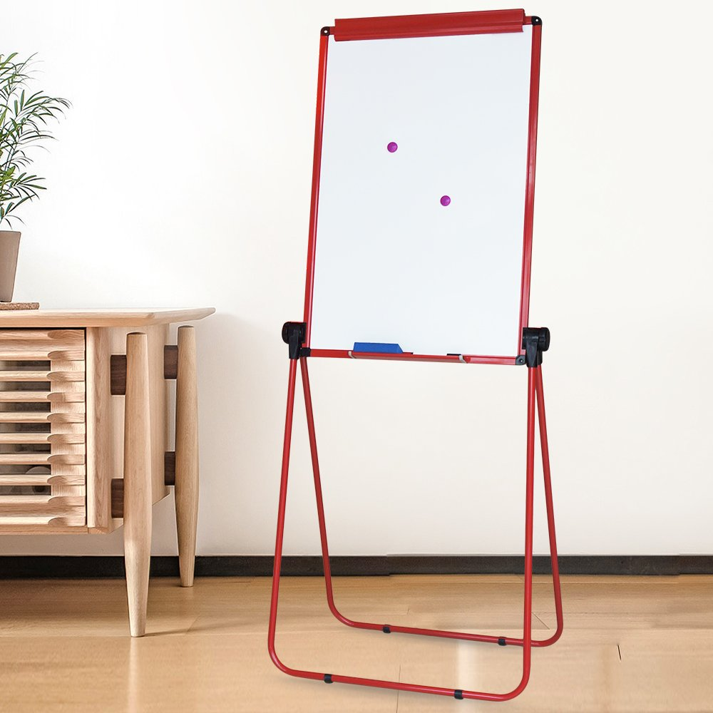 XIWODE MagneticEasel-style Dry Erase Board, Flip Chart Red U-StandWhiteboard, 36 x 24 Inch,Aluminum Framed, with Metal Clipsand Eraser, Foldable WhiteBoard for School, Home, Office by XIWODE (Image #6)