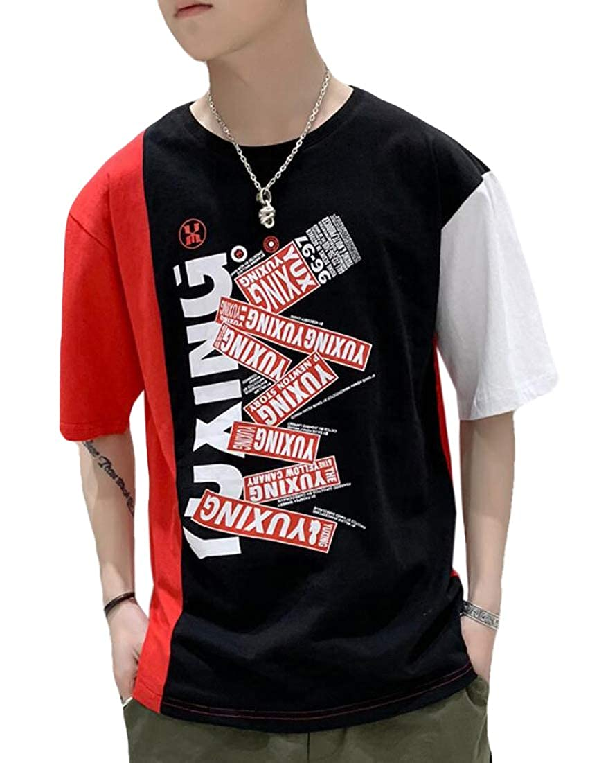 heymoney Mens Short Contrast Color T-Shirt Casual Stitching Tops Patchwork Shirt