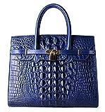 Pifuren Women Top Handle Handbags Satchel Shoulder Tote Crocodile Bag E72130(35CM, 35cm Blue)