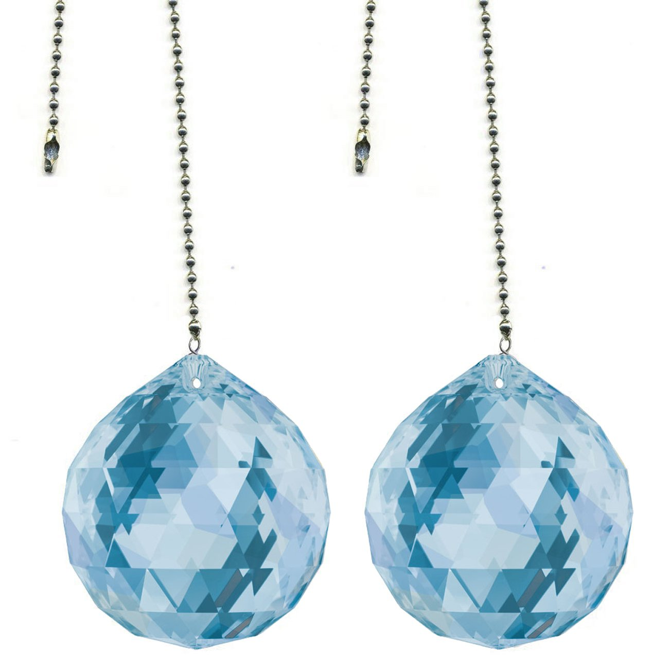 CrystalPlace Ceiling Fan Pull Chain 30mm Swarovski Strass Medium Sapphire Faceted Ball Prism Fan Pulley Set of 2