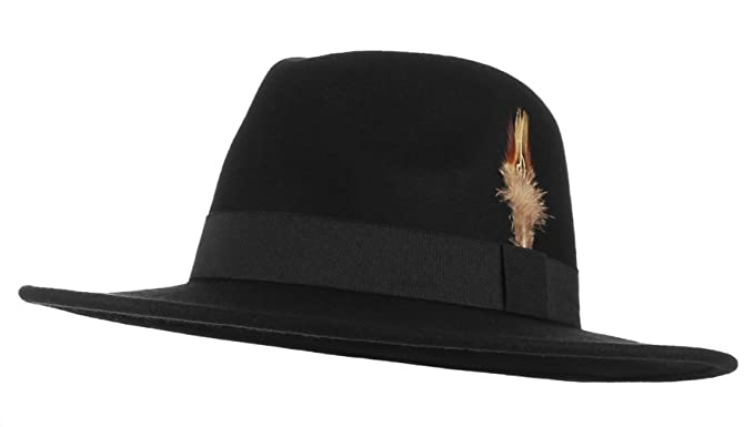 f45dc487748 Lukis Mens Pure Wool Fedora Trilby Hats Parties Events Warm Wool Felt Wide  Brim Panama Fedora Hat with Feather (Black)  Amazon.co.uk  Clothing