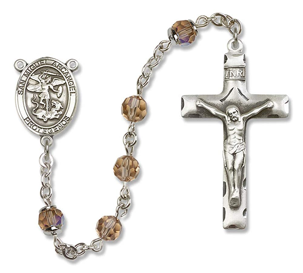 6mm Swarovski Michael the Archangel Center is the Patron Saint of Police Officers//EMTs. All Sterling Silver Rosary with Topaz St Austrian Tin Cut Aurora Borealis Beads