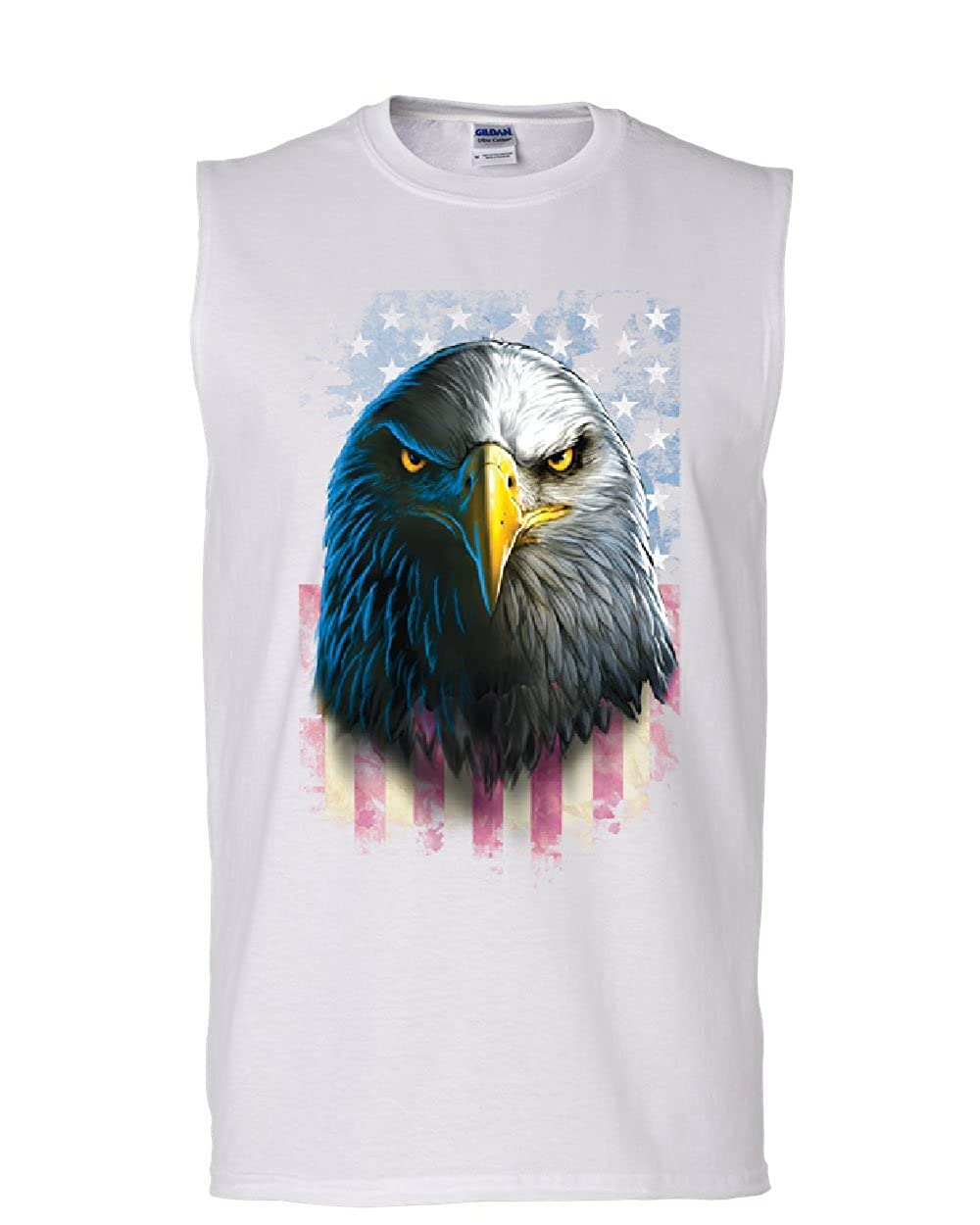 Bald Eagle Stare Muscle Shirt 4th of July USA Stars and Stripes Flag Sleeveless