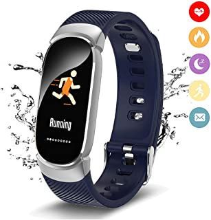 Fitness Trackers WISHDOIT IP68 Wasserdicht Farbdisplay Intelligentes Armband Pulsmesser Blutdrucküberwachung Kalorienzähler Sport Schrittzähler Männer und Frauen Sport Armband für Android iOS