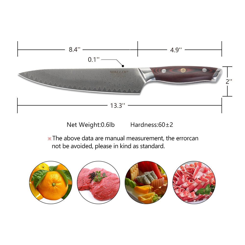 8' AUS-10 Core 67 Layers Damascus Chef Knife with G10 Handle and Wave Blade Pattern, Meat Cleaver, Vegetable Salad Chopper Cutter Knife by WALLOP VP by WALLOP (Image #5)