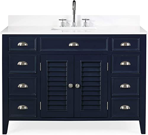 "46.5"" Zapate Contemporary Navy Blue Bathroom Sink Vanity"