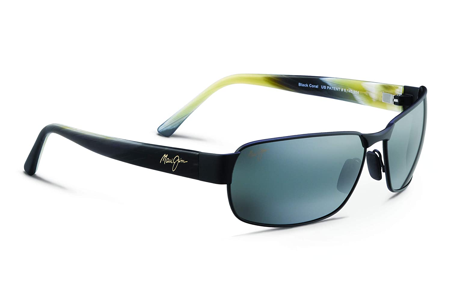 01135bab8 Maui Jim 249-2M Matte Black Black Coral Rectangle Sunglasses Polarised  Golf, Dr: Amazon.co.uk: Clothing