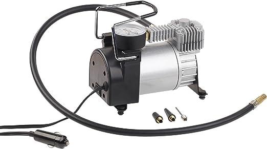 Lescars Minikompressor Mini Luft Kompressor Mit Manometer 12 V 100 Psi 168 Watt 3 Adapter Kompressor Zigarettenanzünder Auto