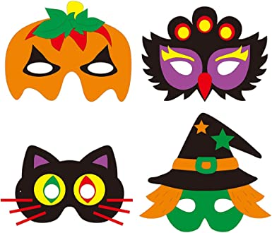 Exceart 4 Sets Halloween Mask Craft Kit Halloween Party Favors Pumpkin Cat Halloween Masks Dress Up Party Accessory Mix Pattern Clothing