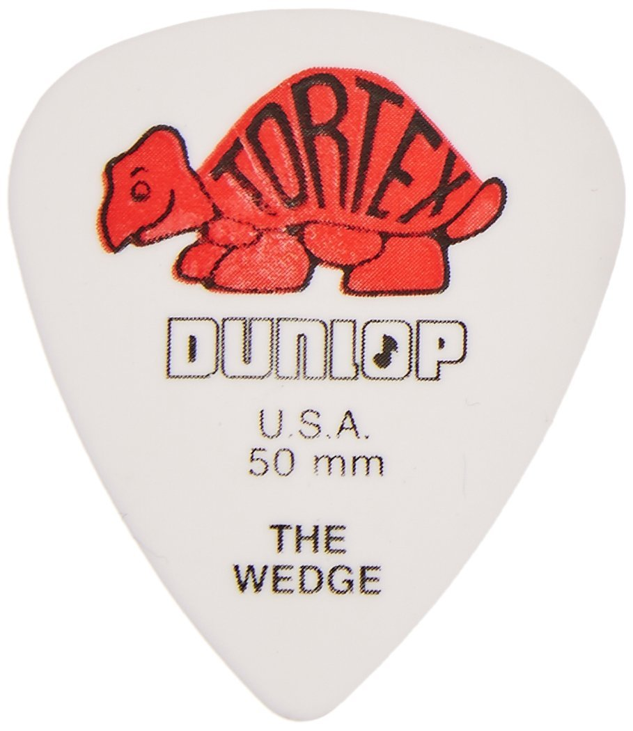 Dunlop 424R.50 Tortex Wedge, White/Red.50mm, 72/Player's Pack