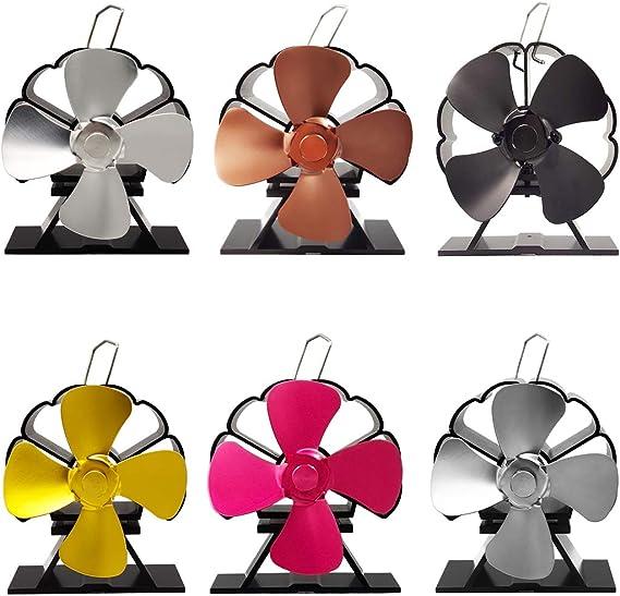 Lixiaoxuty - Ventilador de horno para chimenea de leña (funcionamiento ultra silencioso, 4 cuchillas, respetuoso con el medio ambiente, volumen de aire muy fuerte), Negro: Amazon.es: Bricolaje y herramientas