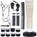 Maxshop Professional Hair Clippers for Men and Babies Quiet Barber Clippers Cordless Haircut kit with 2 Scissors 1 Hair Comb Charging Dock Home Barber kit