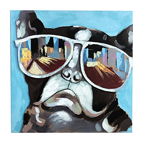GoodPoint Art Hand Painted Canvas Oil Painting 3D Modern Dog Wall Art with Framed Artwork Home Decor Ready to Hang 24×24 Inch Sunglasses Dog