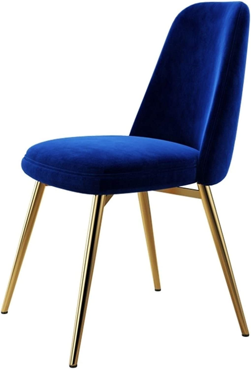 Velvet Dining Chairs Scandinavian Kitchen Counter Lounge Chair Living Room Corner Chair Tub Chair with Metal Legs and Backrest (Color : Blue, Size : 1pcs)