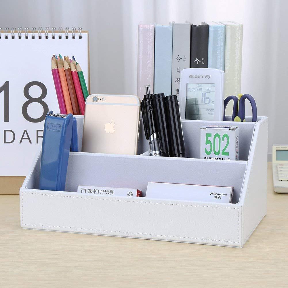 KINGFOM Holzstruktur Leder Multifunktionale Schreibtisch Organisator Wei/ß