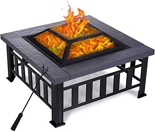 Yardom 34 inch Outdoor Fire Pits BBQ Square Firepit Table Backyard Patio Garden Stove Wood Burning Fireplace