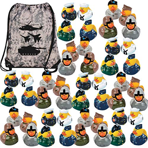 - Military Rubber Ducks Bulk Party Favors (48 Armed Forces Duckies + 1 Camo Drawstring Bag) - Military Appreciation Day - Veteran's Day - Memorial Day - Military Enlistment or Retirement Party Supplies