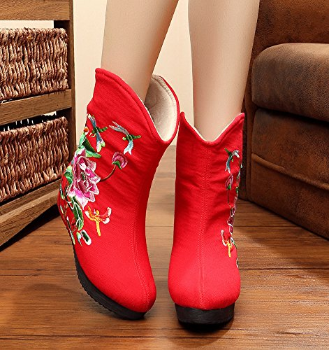 AvaCostume Womens Lotus Embroidery Wedge Heel Platform Booties Red zKXyI7Rx