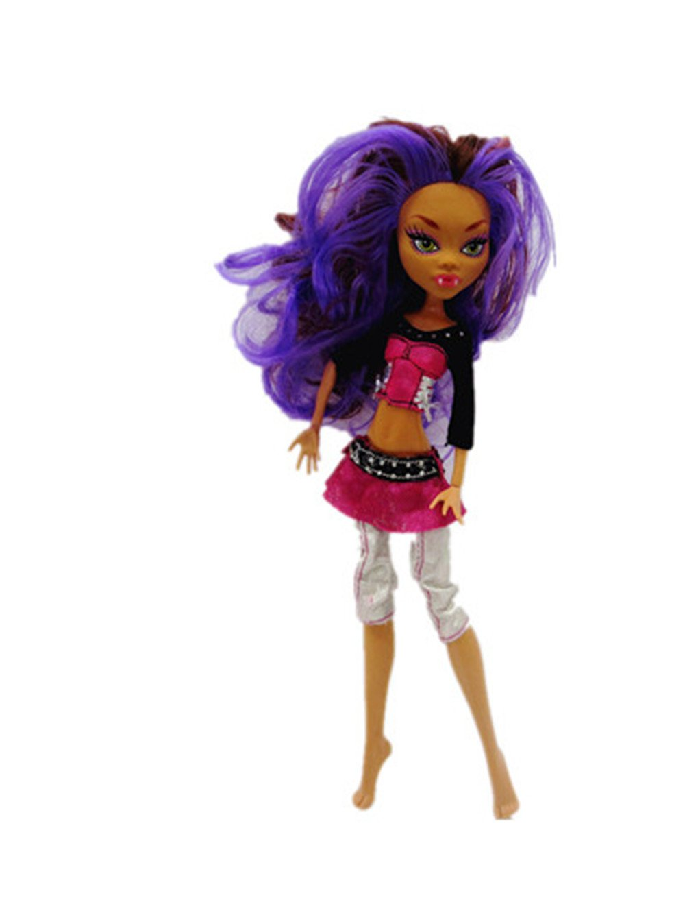 Red Bare Midriff Tops Peplum White Pants Outfits Fiction Dress Purple For Monster High Dolls Toys Games